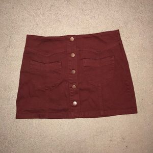 Deep Red Jean Skirt